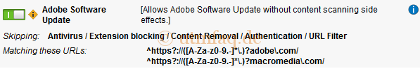 Web Filtering Options Exception Adobe Software Update