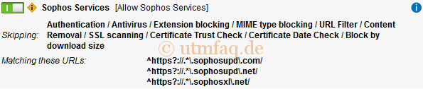 Web Filtering Options Exception Sophos Services Update